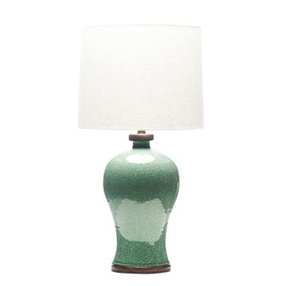 Lawrence & Scott Dashiell Table Lamp in Aquamarine Crackle For Sale