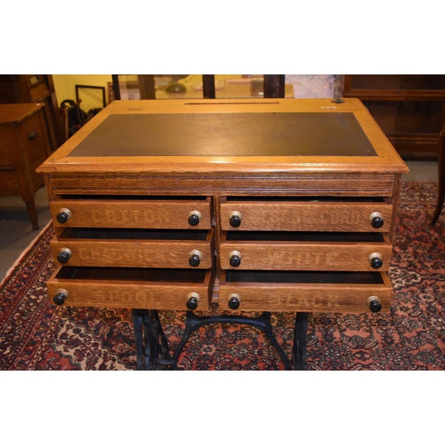 Beautiful! Refinished Oak Spool Cabinet/Desk with Lift Top Leather writing surface (005/550) Golden Oak Color. The top of...