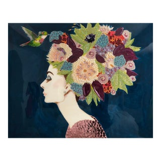 """Audrey With Flower Headdress and Hummingbird"" Painting by Ashley Longshore For Sale"