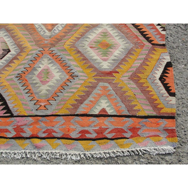 Yellow Vintage Turkish Kilim Rug - 5′5″ × 7′10 For Sale - Image 8 of 11