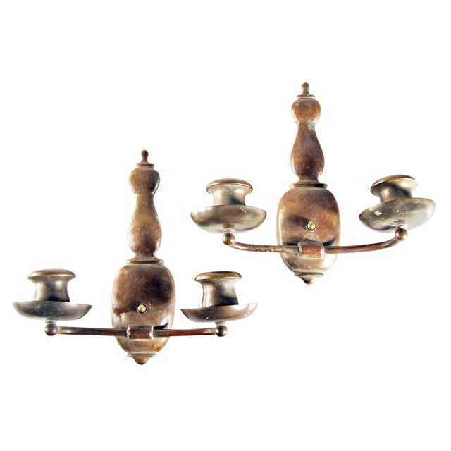 Two-Arm Copper Hammered Arts & Crafts Sconces - A Pair For Sale
