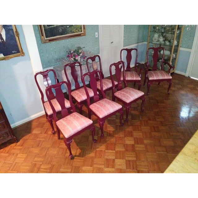 Red Henredon Walnut Parsons Table / Dining Set For Sale - Image 8 of 12
