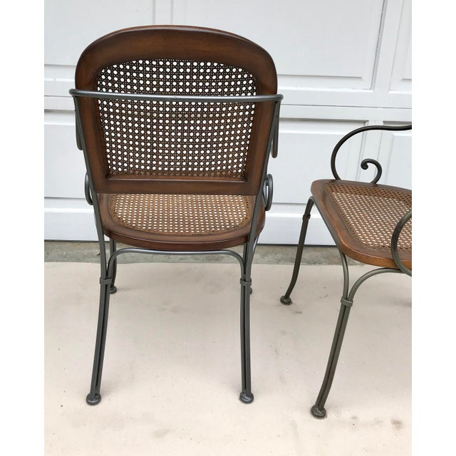 Vintage Iron & Cane Chairs - Set of 4 For Sale - Image 4 of 6