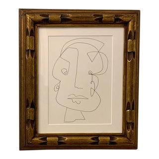 Abstract Framed Portrait Drawing For Sale