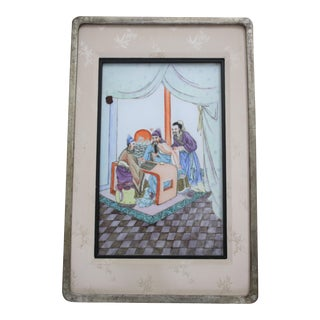 Chinese Famille Rose Hand-Painted Porcelain Tile / Plaque in Silver Leaf Frame For Sale