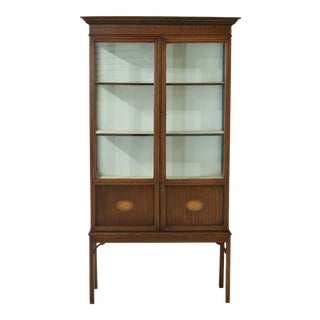 Edwardian English Inlaid Mahogany Curio Vitrine Cabinet For Sale