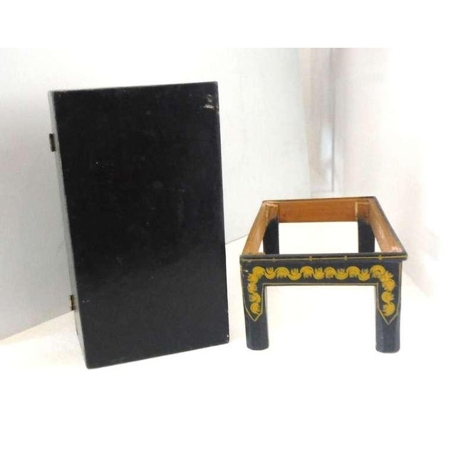 Antique Ebonized Hand-Painted Mexican Wedding Trunk For Sale In Los Angeles - Image 6 of 9