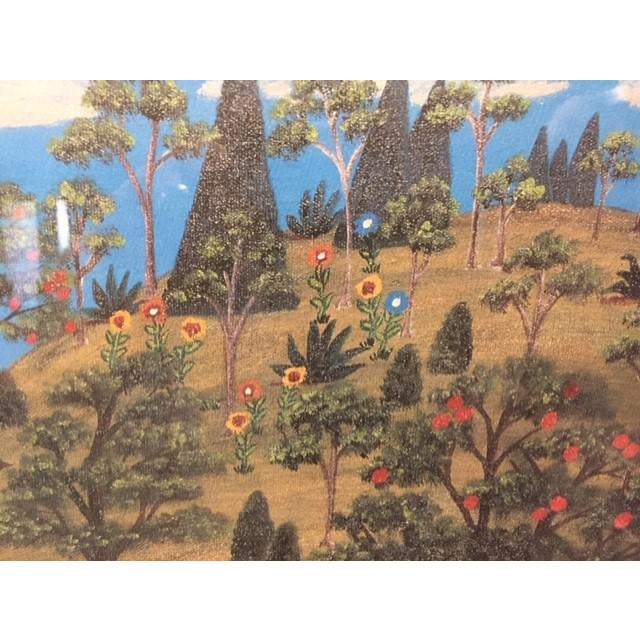 """Blue 1960s Vintage Mike Falco """"Lazy Afternoon"""" Folk Art Signed Artist Proof Serigraph on Canvas For Sale - Image 8 of 12"""