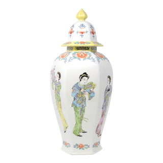 Hand-Painted Hexagonal Ginger Jar With Asian Ladies and Flowers For Sale
