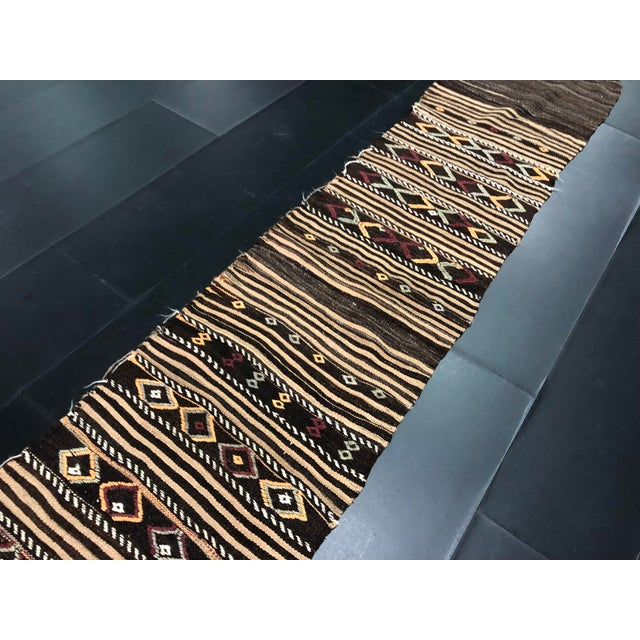 Textile 1960s Vintage Decorative Turkish Anatolian Hand-Woven Kilim Runner- 1′10″ × 10′10″ For Sale - Image 7 of 11