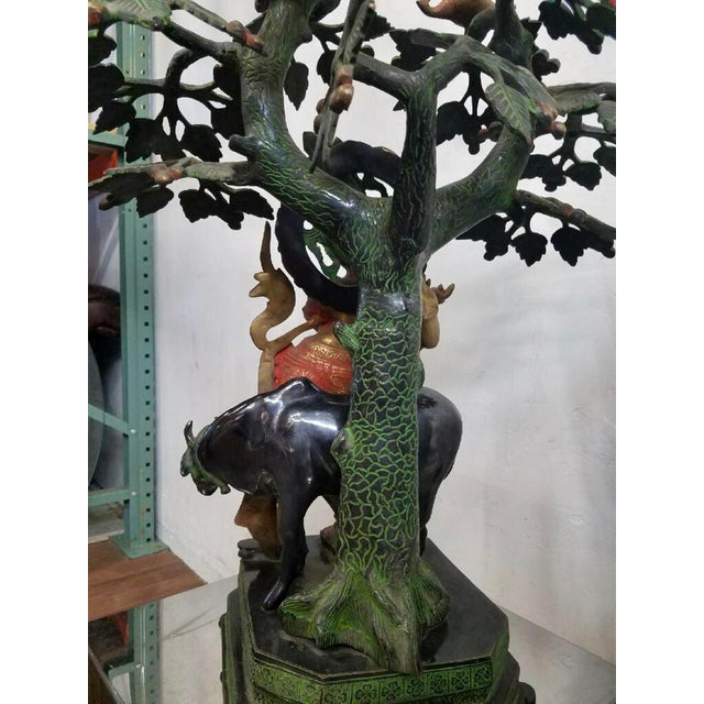 Hindu God Krishna With Sacred Cow Sculpture - Image 5 of 9
