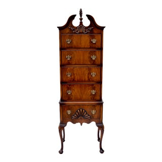Chippendale Style Flame Mahogany Highboy or Lingerie Chest by J.B.Van Sciver For Sale