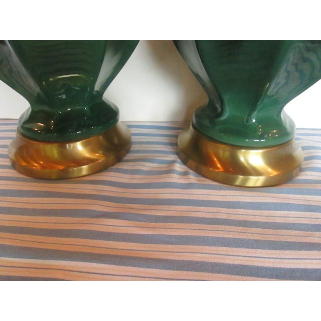 Mid-Century Green Drip Glaze Lamps - A Pair - Image 5 of 6