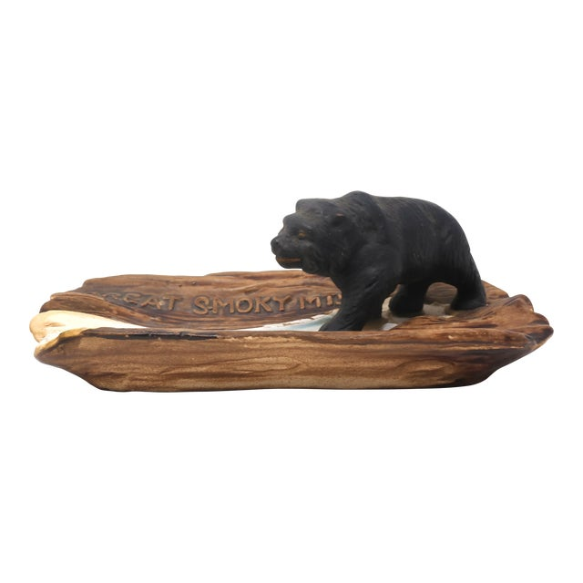Vintage Great Smoky Mountains Ashtray With Black Bear For Sale