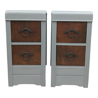 1950s Vintage Art Deco Style Nightstands-a Pair For Sale