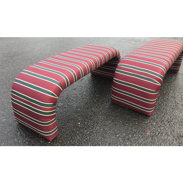 1980s Striped Upholstered Waterfall Benches -A Pair - Image 4 of 8