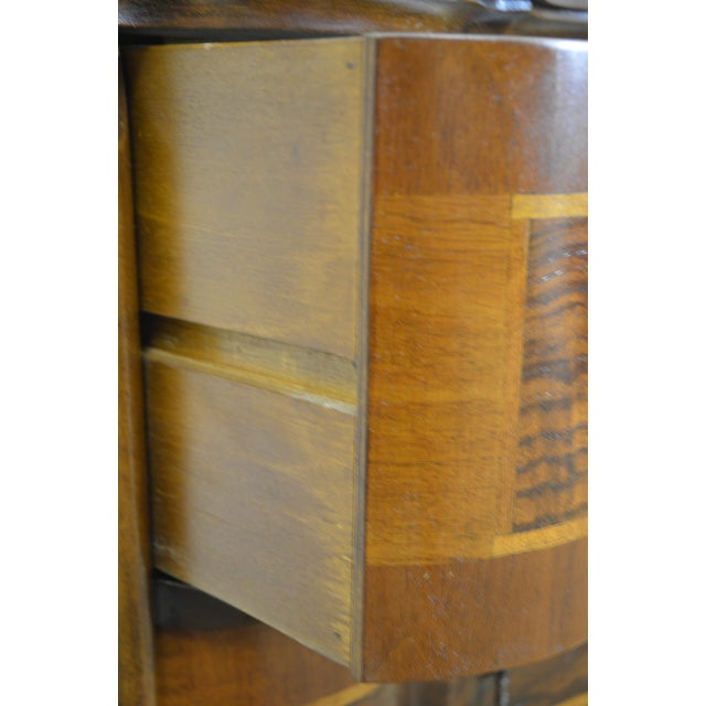 Trouvailles Continental Style Burl Wood Serpentine Chest of Drawers For Sale In Philadelphia - Image 6 of 11