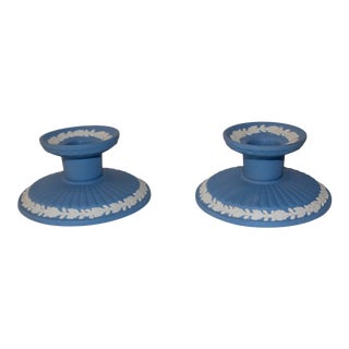 Mid 20th Century Wedgwood Jasperware Candle Holders - a Pair For Sale