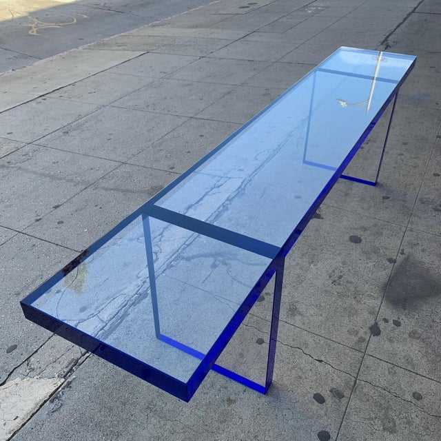 Modern Custom Bench in Deep Blue and Clear Lucite by Cain Modern For Sale - Image 3 of 13