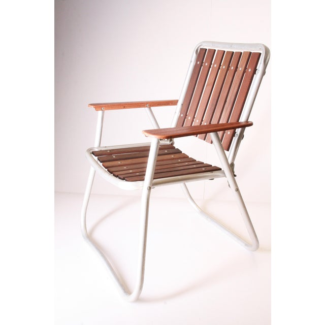 Mid Century Redwood Aluminum Folding Patio Chairs - A Pair For Sale - Image 6 of 11