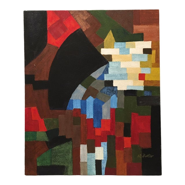 Vintage Abstract Geometric Oil Painting on Canvas For Sale