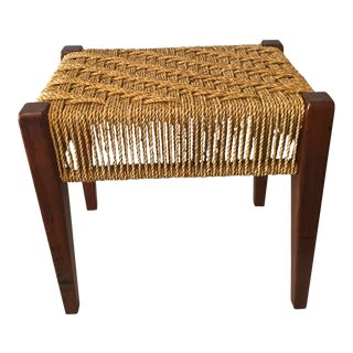 JL Moller Teak & Paper Cord Bench For Sale