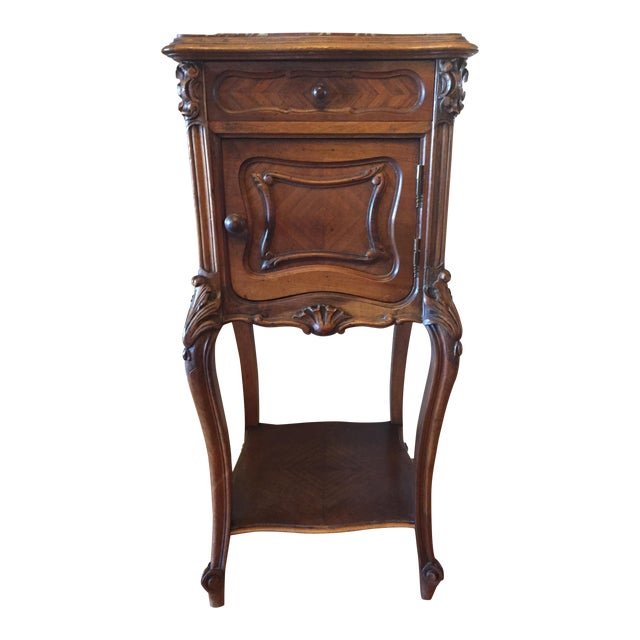 French Marble Top Walnut Nightstand - Image 1 of 7