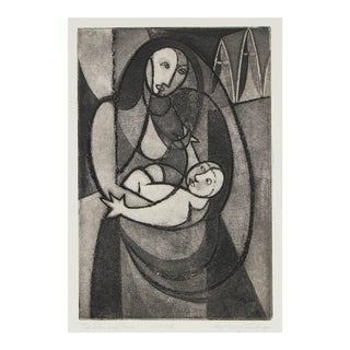 "Seymour Tubis ""The Eternal Two"" Madonna and Child, Etching on Paper, Late 1940s"