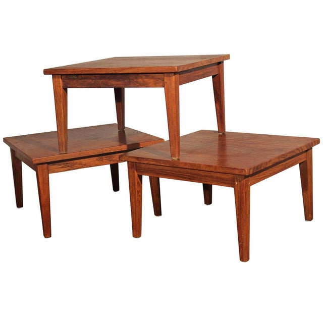 Mid century stackable rosewood tables set of 3 chairish for Small stackable coffee tables
