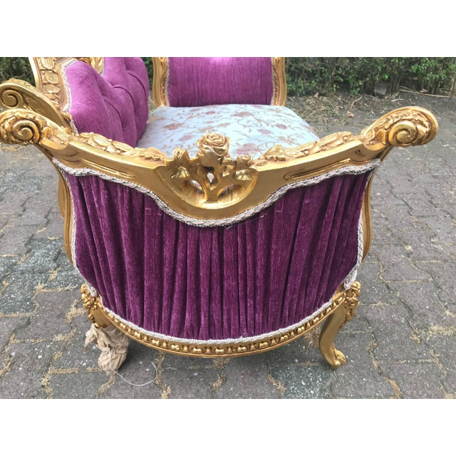 French Louis XVI Style Purple Tufted Love Seat/Settee For Sale - Image 4 of 7