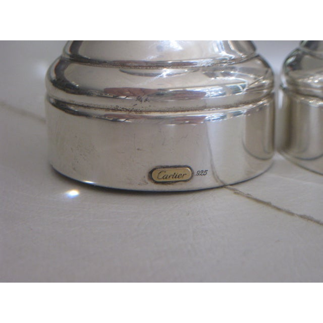 Contemporary Cartier Sterling Silver Pepper Grinder & Salt Shaker - a Pair For Sale - Image 3 of 7