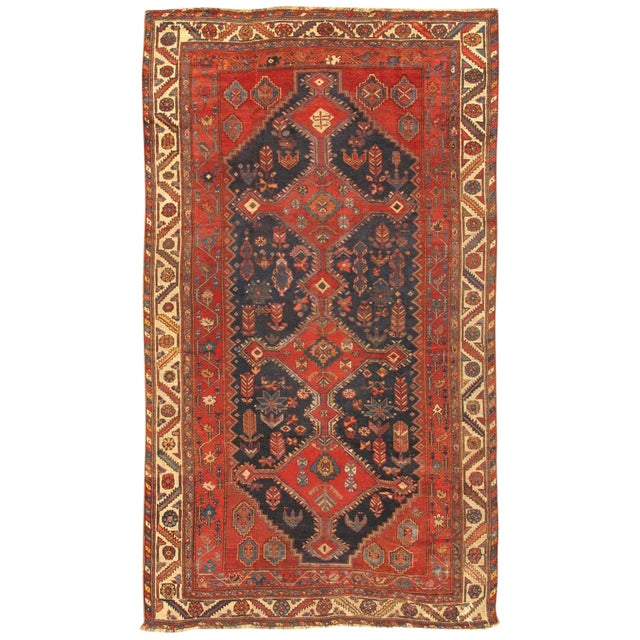 """Modern Pasargad Home Antique Shiraz Lamb's Wool Area Rug- 6' 7"""" X 11' 3"""" For Sale"""