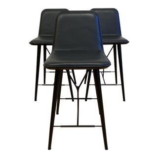 Space Copenhagen Fredericia Spine Leather Bar Stool - Set of Three For Sale