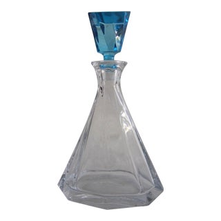 1950's Vintage Glass Decanter with Aquamarine Stopper For Sale
