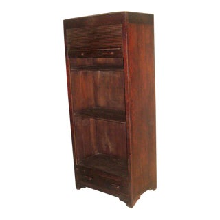 Sober, Modern French Colonial Roll Top Cabinet / Amoire / Storage / Bookcase