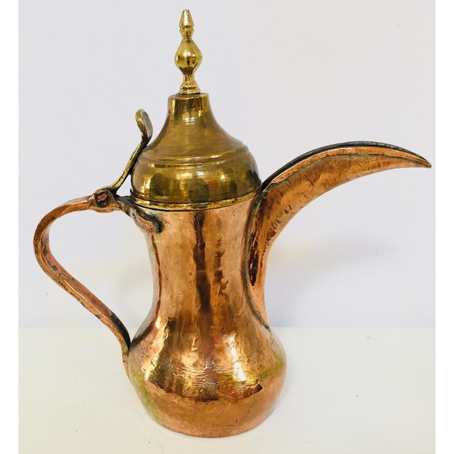 Brass Middle Eastern Dallah Arabic Copper Coffee Pot For Sale - Image 7 of 12