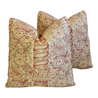 """Italian Coraggio Floral Feather/Down Pillows 21"""" Square - Pair For Sale"""