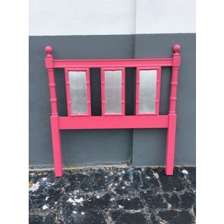 20th Century Hollywood Regency Hot Pink Lacquered Twin Headboard With Silver Leaf Preview