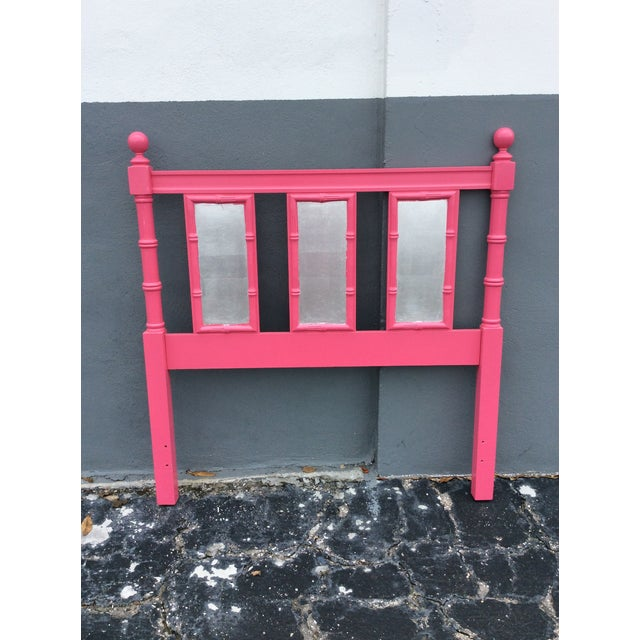 Vintage, Thomasville 'Allegra' faux rattan twin headboard. Lacquered in hot pink with silver leaf applied on rectangular...