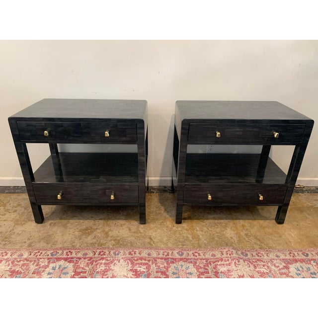 Faux Horn Nightstands From Made Goods-a Pair For Sale - Image 9 of 9
