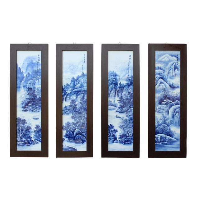 Chinese Blue & White Porcelain Wall Panels - Set of 4 - Image 1 of 6