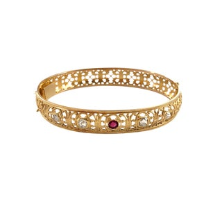 Edwardian Gold Diamond Ruby Bangle Bracelet For Sale
