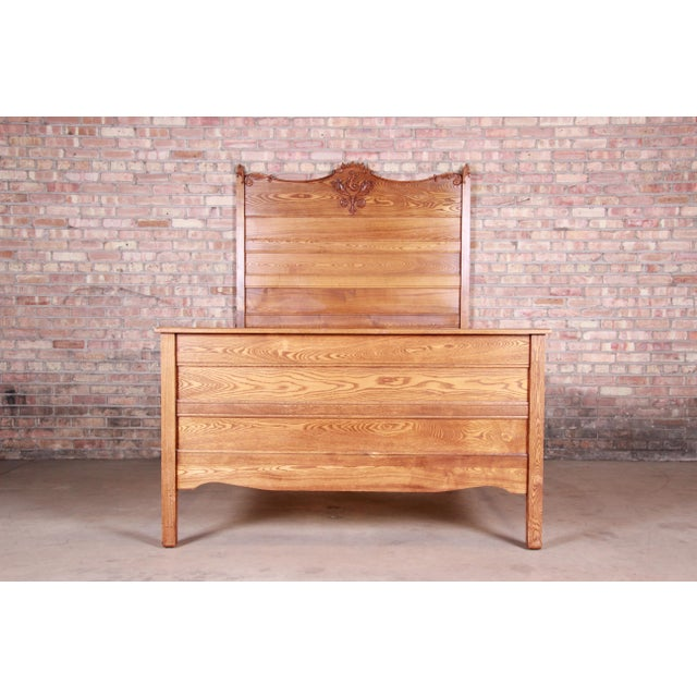 Antique Carved Oak Full Size Bed, Circa 1900 For Sale - Image 9 of 9