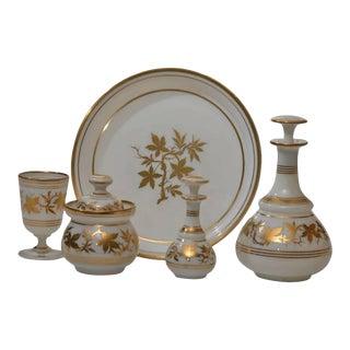 19th Century Baccarat Five-Piece Opaline Water Set with Gilt Enamel Decoration For Sale