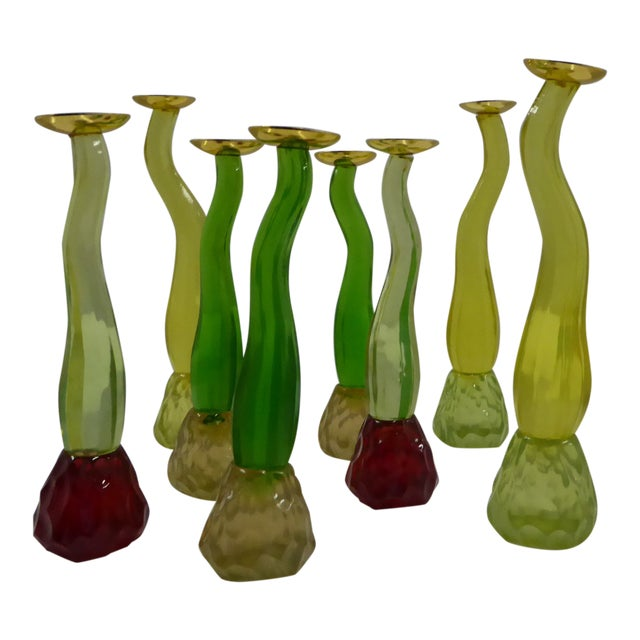 1980s Organic Modern Space Age Acrylic Candleholders - Set of 8 For Sale