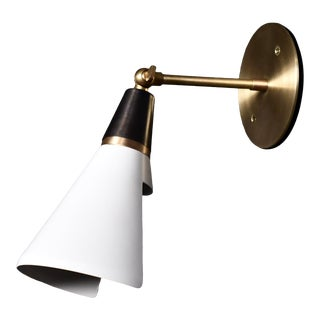 Magari Adjustable Wall Lamp in Black, White & Brass by Blueprint Lighting For Sale