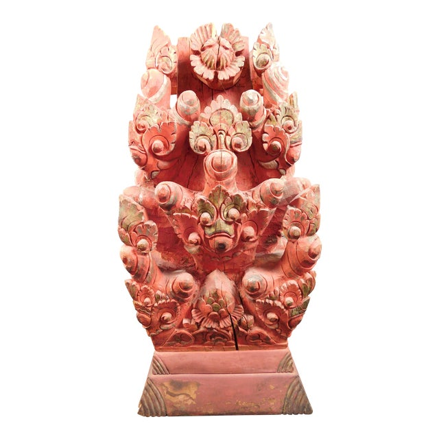 Antique Asian Temple Carved Wooden Sculpture - Image 1 of 11