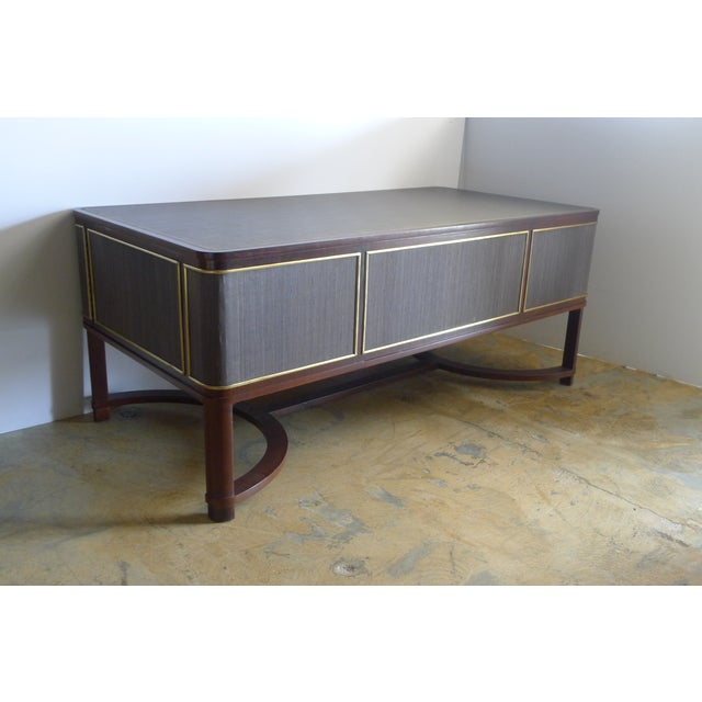 Restored Expansive Modern French Art Deco Executive Desk - Image 4 of 13