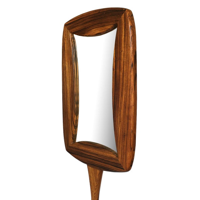 1970s Studio Craft Movement Carved Zebrawood Standing Floor Mirror For Sale - Image 5 of 13