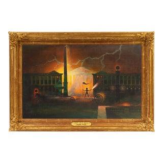 'Place De La Concorde, Paris' by Henri Julie, Large Mid-Century Surrealist Oil For Sale